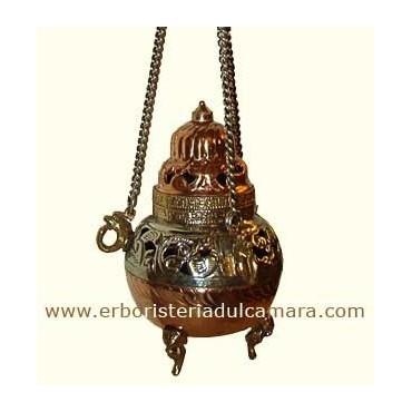 Turibolo Tibetano (Turibolo in Metallo Decorato Munito di Catena) Dhanvantari - Regali di Natale