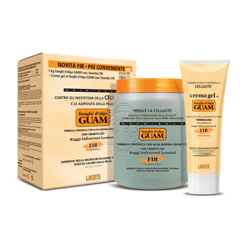 Fanghi Alga Guam (Confez. Convenienza) - 1 Fango da Kg + 1 Crema da 250 ml - Guam Lacote - Fanghi Anticellulite