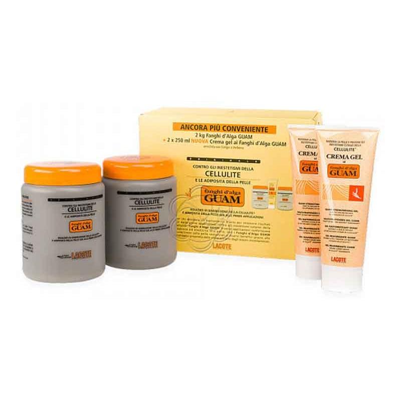 Fanghi Alga Guam Doppia Convenienza (2 Fanghi da 1 kg + 2 Creme Gel da 250 ml) - Guam Lacote - Fanghi Anticellulite