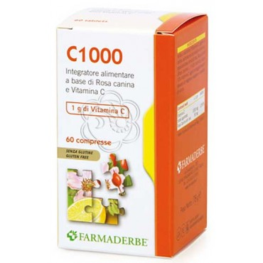 C1000 - Vitamina C (60 Compresse da 1000 mg) Farmaderbe - Vitamina C Naturale