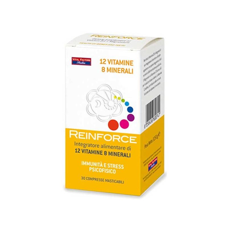 Reinforce 8 Minerali e 12 Vitamine (30 compresse masticabili) Vital Factors