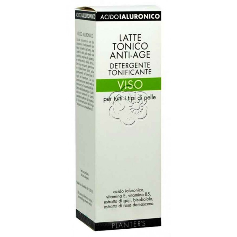 Latte Tonico Anti-Age Acido Ialuronico Viso (150 ml) Planters - Rughe, Antirughe