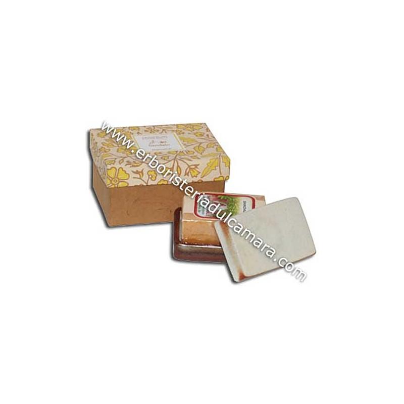Confezione Regalo Sapone Sandalo con Portasapone in Gres (400 g) Dhanvantari