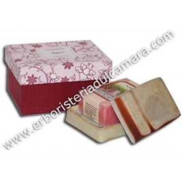 Confezione Regalo Sapone Rosa con Portasapone in Gres (400 g) Dhanvantari - Cosmesi