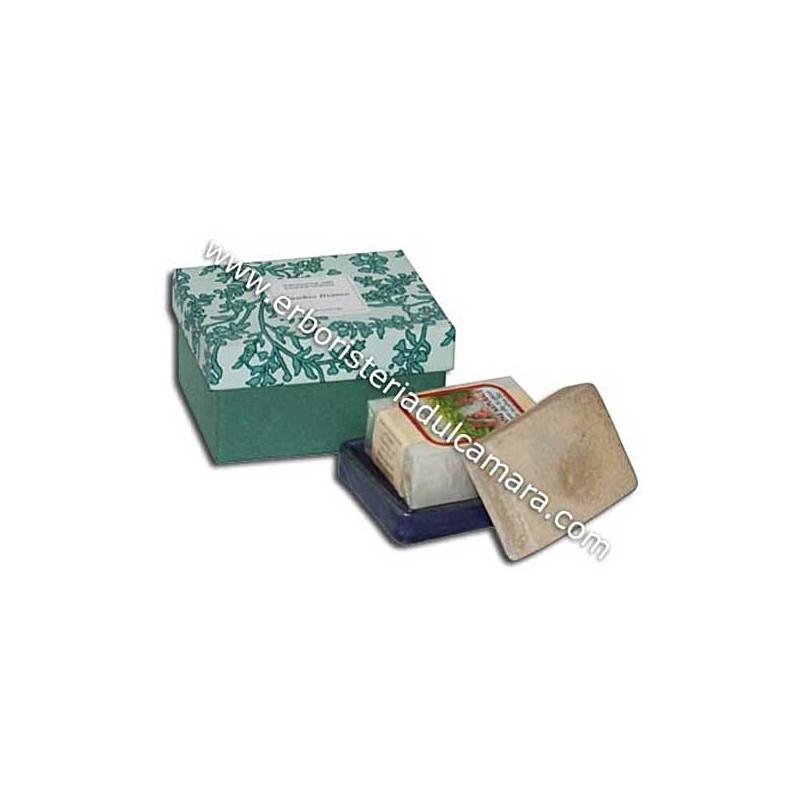 Confezione Regalo Sapone Muschio Bianco con Portasapone in Gres (400 g) Dhanvantari - Cosmesi