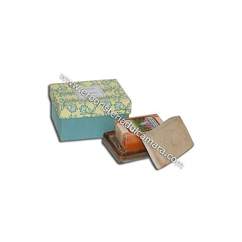 Confezione Regalo Sapone Mandarino con Portasapone in Gres (400 g) Dhanvantari - Cosmesi