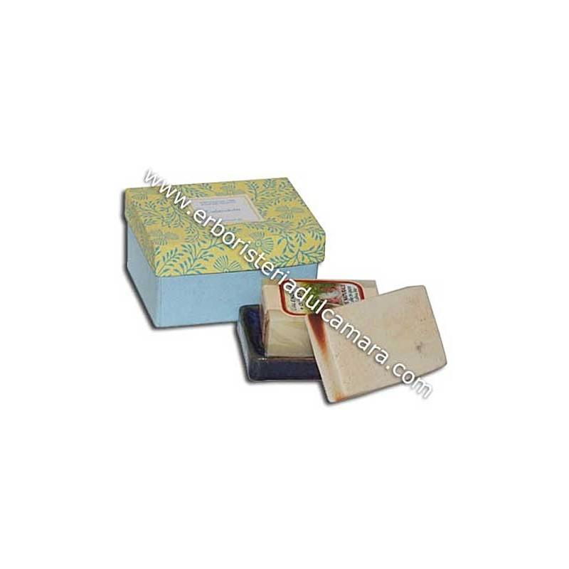 Confezione Regalo Sapone Calendula con Portasapone in Gres (400 g) Dhanvantari - Cosmesi