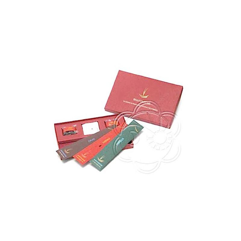 Confezione Regalo Incensi e Resine (Colore Rosso) Dhanvantari - Natale