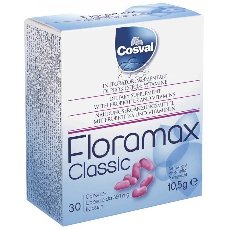 Floramax - Fermenti Lattici + Vitamine (20 Capsule da 350 mg) - Cosval - Ripristinare la Flora Batterica Intestinale