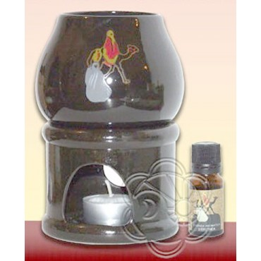 Diffusore di Aromi in Ceramica (Diffusore + Essenza di Eritrea + Candela) Dhanvantari) Diffusori di Aromi