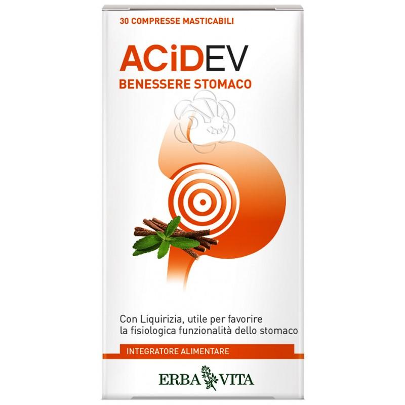 Acid EV Benessere Stomaco (30 Compresse Masticabili) Erba Vita - Gastrite, Iperacidità