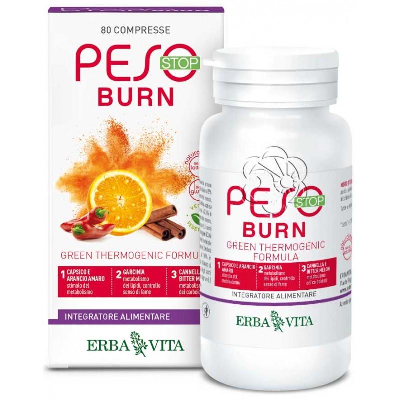 Peso Stop Burn (80 Compresse) Erba Vita - Dimagranti, Dimagrire Mangiando, Sovrappeso