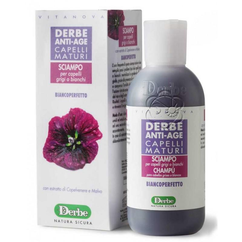Shampoo Anti-Age Capelli Maturi - Bianco Perfetto (200 ml) Derbe - Contro l'Ingiallimento del Capello Bianco