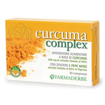 Curcuma Complex (30 Compresse) Farmaderbe - Associata a Piperina e Zenzero